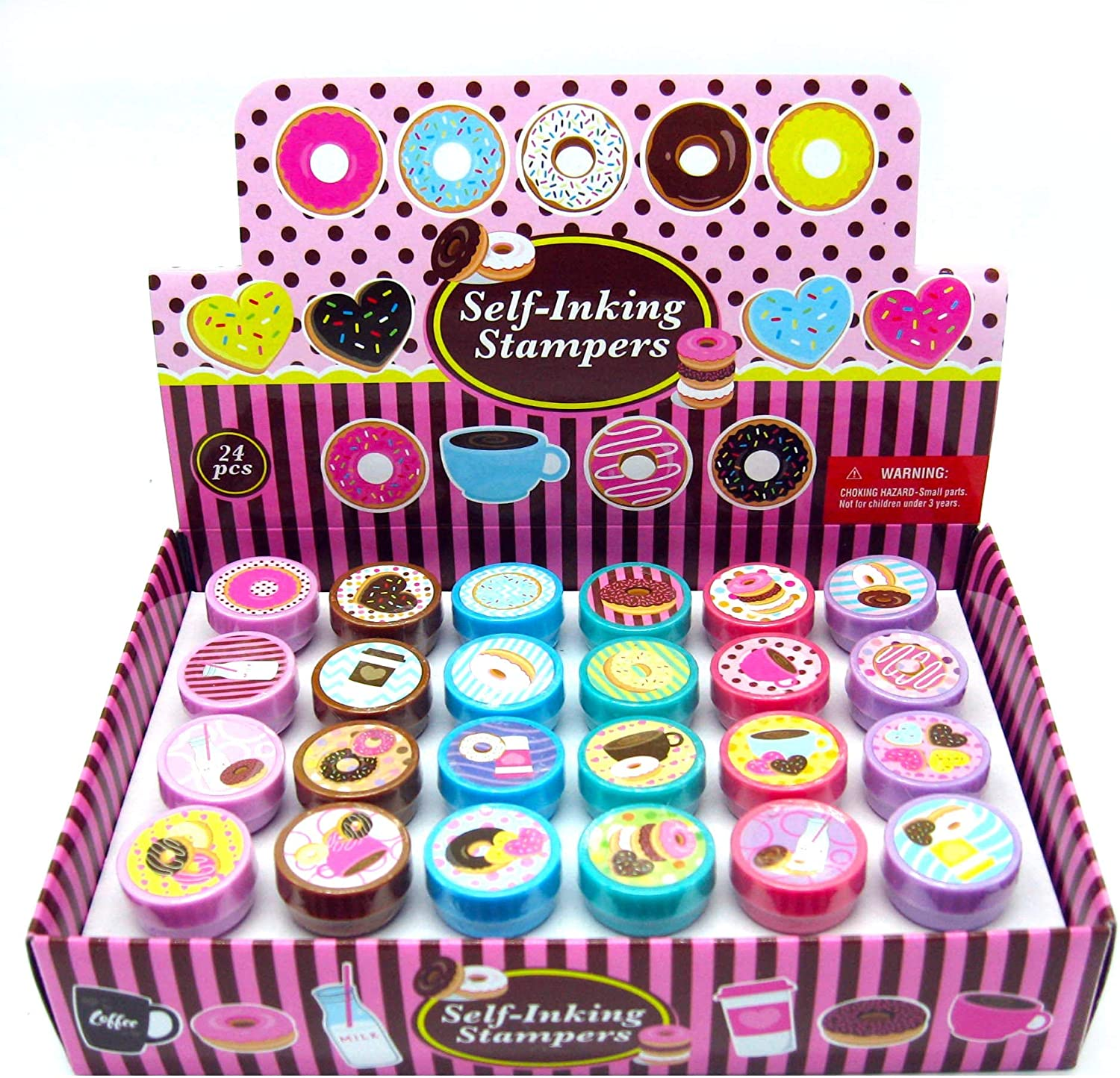 TINYMILLS 24 Pcs Donuts Stampers for Kids Donut Party Favors Goodie Bag Stuffers Pinata Fillers Classroom Rewards Carnival Prizes