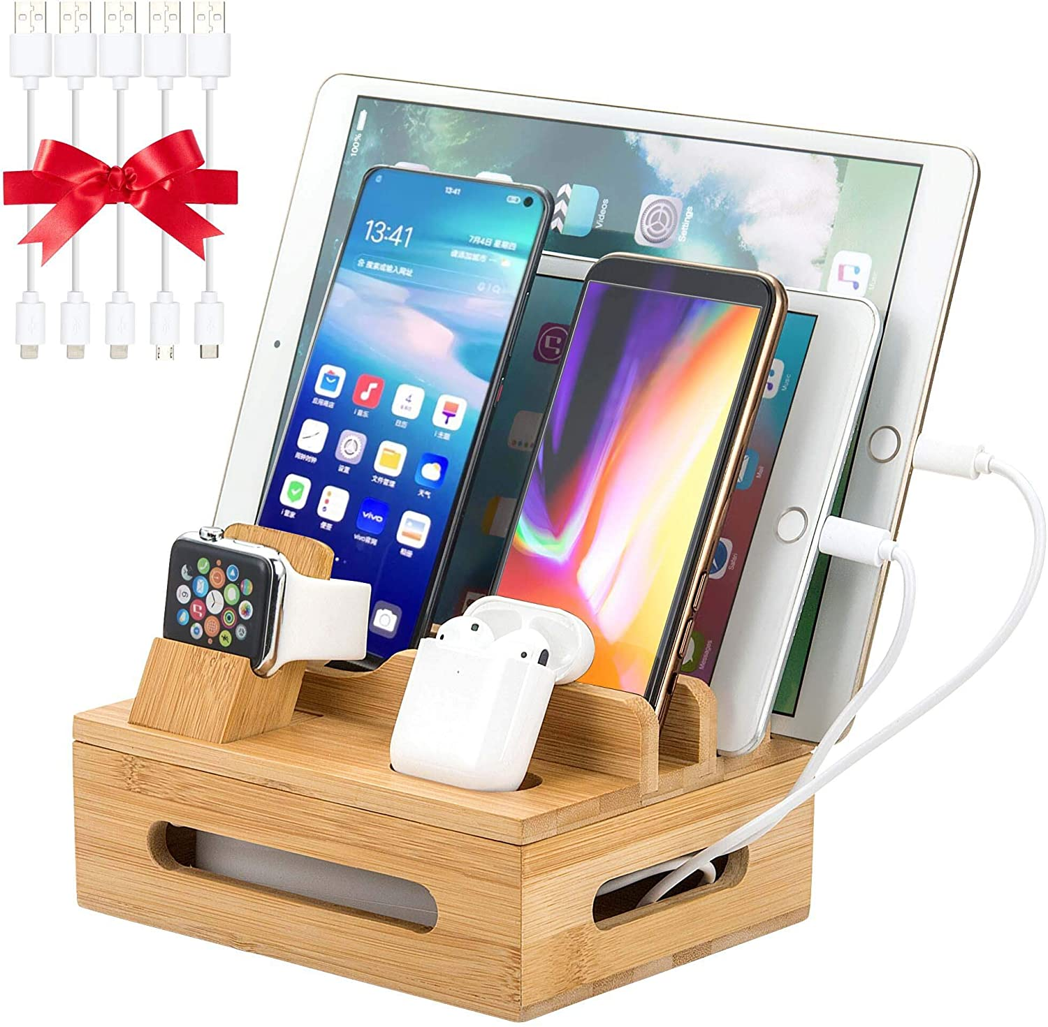 Bamboo Charging Station for Multiple Devices, Organizer Dock for iPhone iPad iWatch Airpods Samsung, Universal iOS and Android Cell Phones & Tablets, with 5 USB Cables, Device Stand, No Power Supply