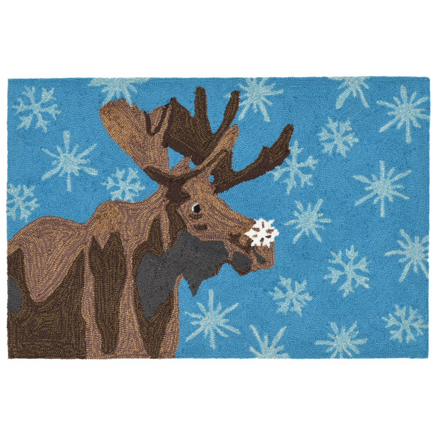 Liora Manne Whimsy December Moose Rug, Blue, 20x30 20x30 The Trans Ocean Group FT112B03403