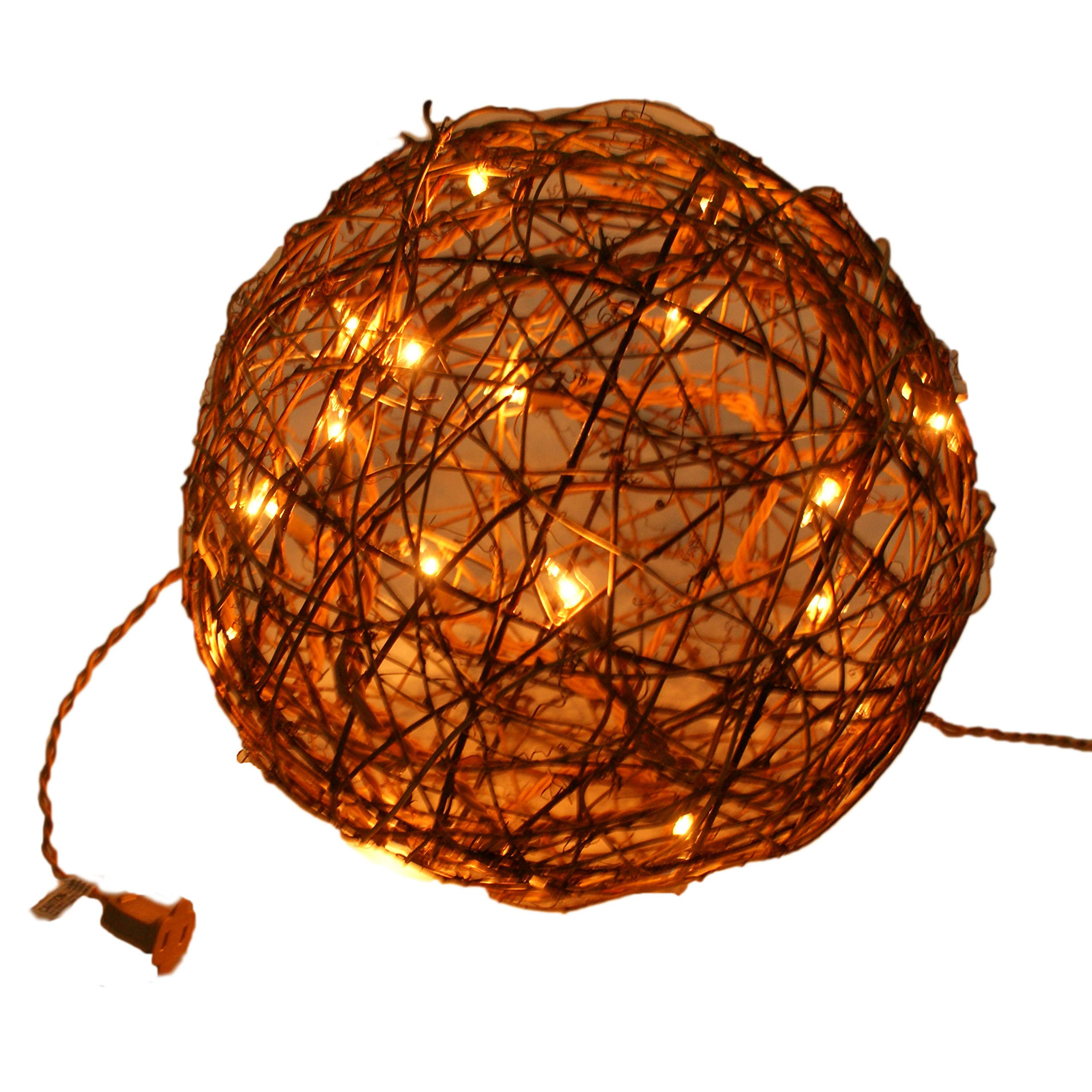 Emlyn LED Pendant Lamp By Emlyn (10'') Christmas Decor, Ambient Mood Lighting Night Globe, Romantic Lantern For Wedding, Holiday, Patio, Outdoor (Warm White), rattan, grape (10'') by Emlyn