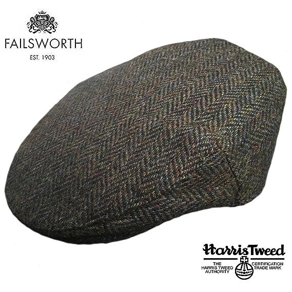 45236d5b5bc Failsworth Stornaway Genuine Harris Tweed Flat Cap Brown Green (55cm ...
