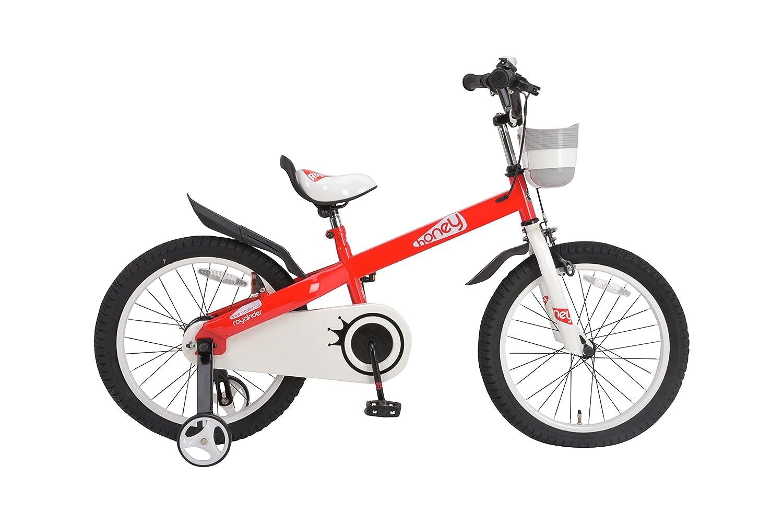 ROYALBABY(ロイヤルベイビー) 補助輪付き 18インチ子ども (幼児向け) 自転車[メーカー保証1年] フルカバーチェーンケースカゴ付き RB18-15H HONEY 18 B01HPA9WXI レッド レッド