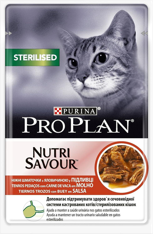Purina ProPlan Comida para Gatos Esterilizados en Salsa Gato Adulto Buey 24 x 85 g