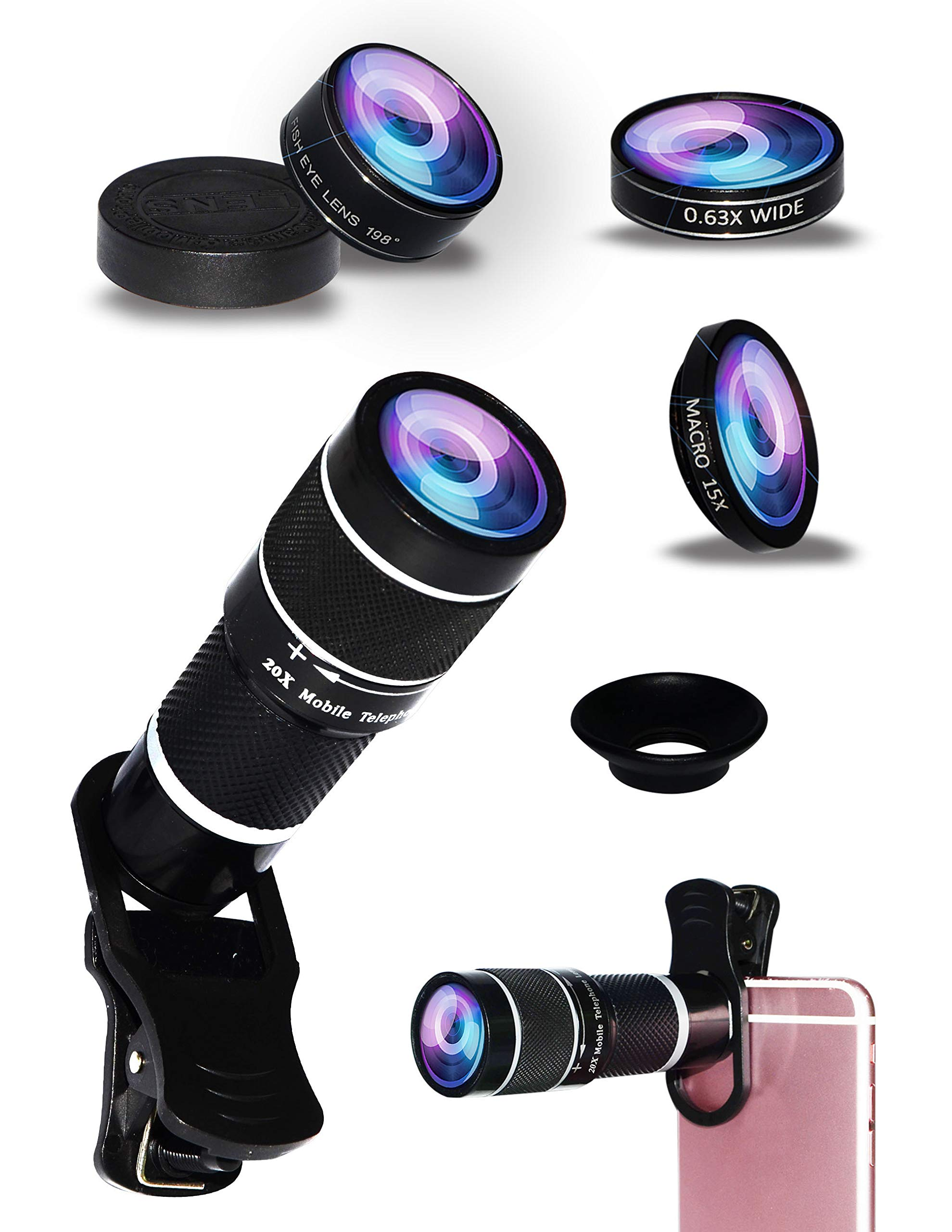 5-in-1 Phone Lens, 20x telephoto Lens, 0.63x Wide-Angle Lens, Macro Lens, fisheye Lens, Eye mask, for iPhone X 8 7 6 Plus 6S Samsung Galaxy S9 S8 S7 Huawei and Most Android Smartphones