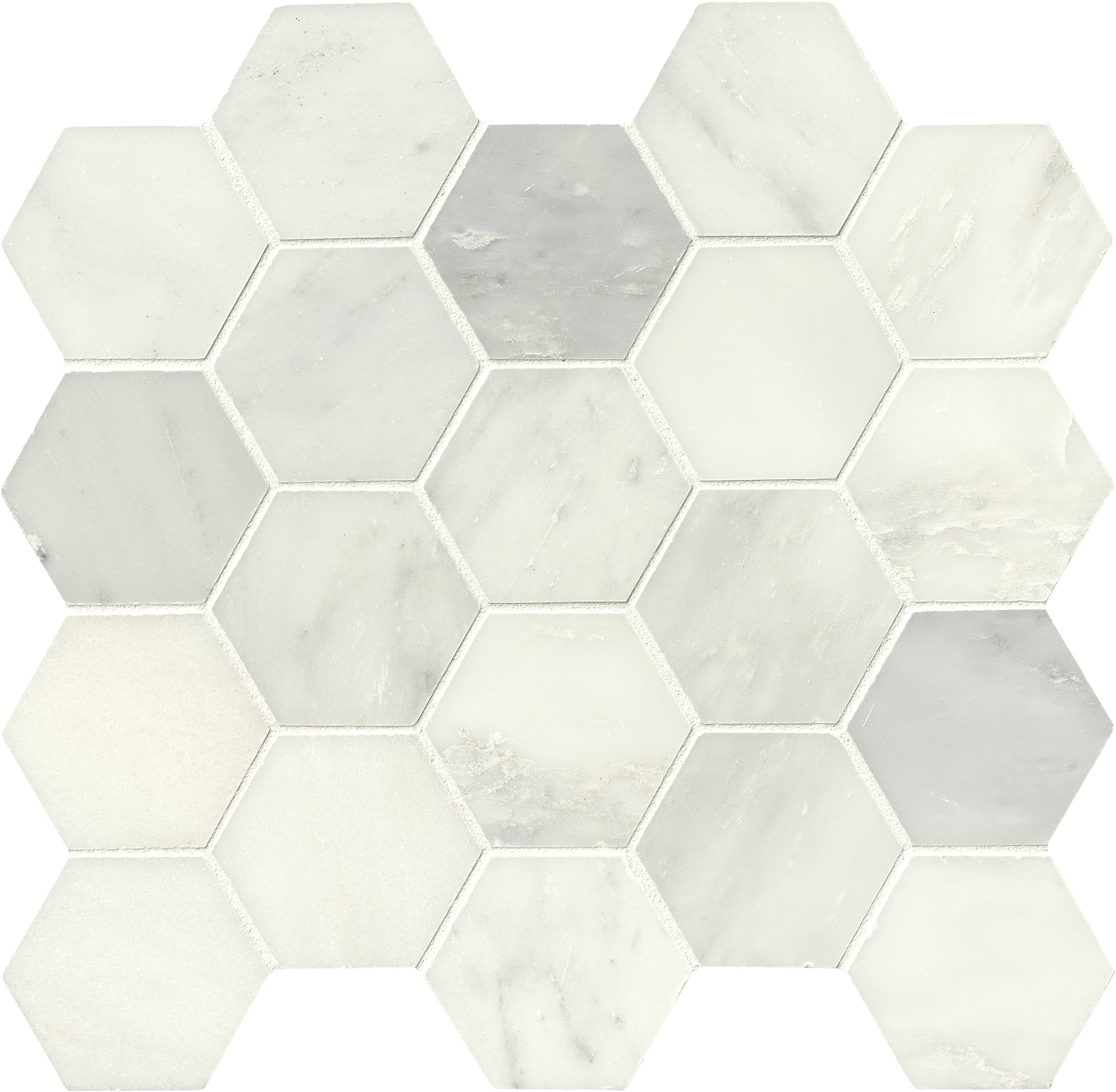 M S International Greecian White Interlocking 12 in. x 12 in. x 10 mm Polished Marble Mesh-Mounted Mosaic Tile (10 sq. ft. / case)