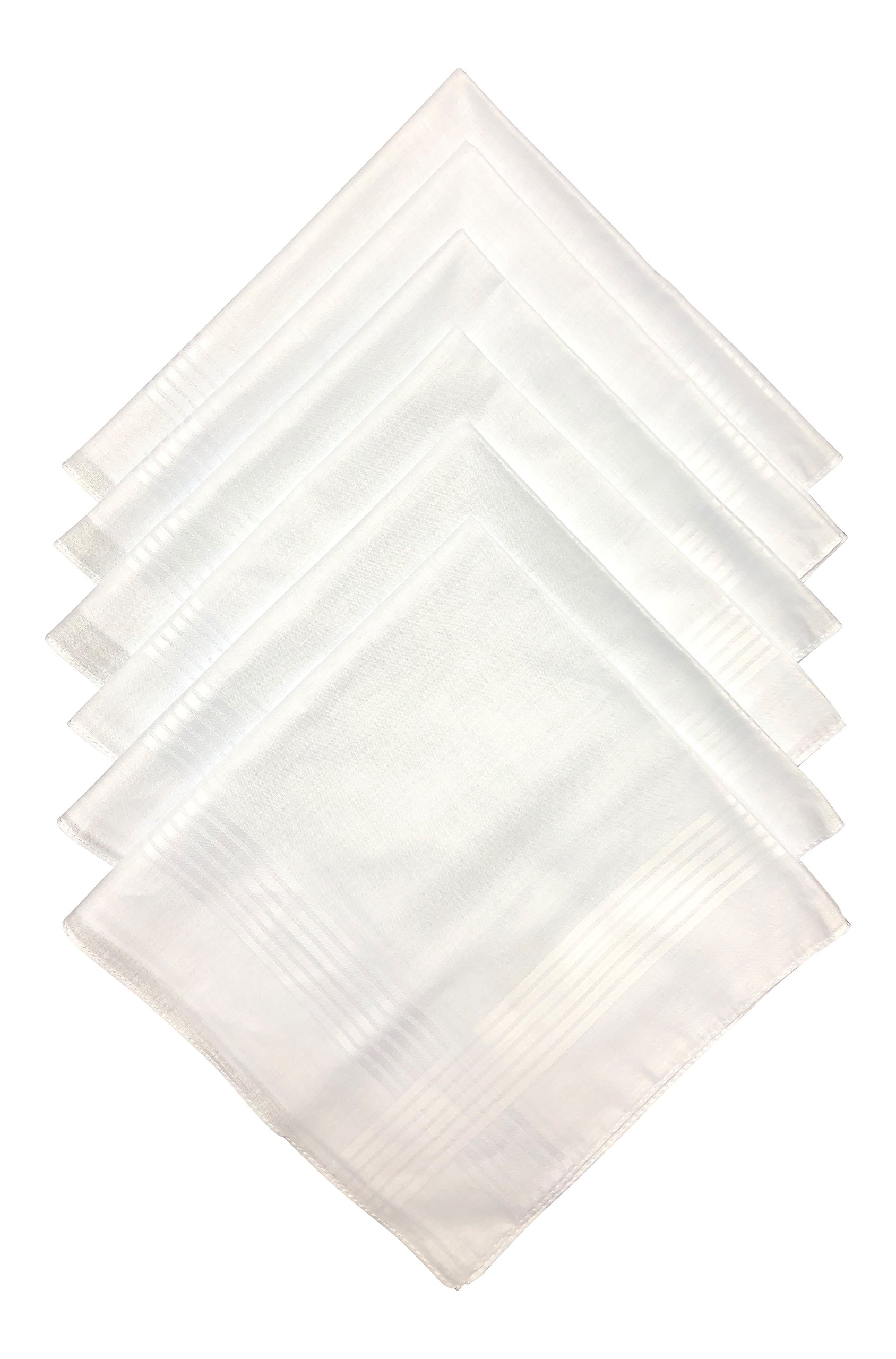 Q.T. Bamboo Men's Soft Bamboo Classic White Handkerchief (6 Pack, White)