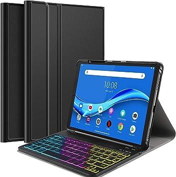 IVSO Backlit Español Ñ Teclado para Lenovo Tab M10 FHD Plus 10.3, para Lenovo Tab M10 FHD Plus TB-X606F 10,3 Pulgadas Teclado, Funda con 7 Colores ...