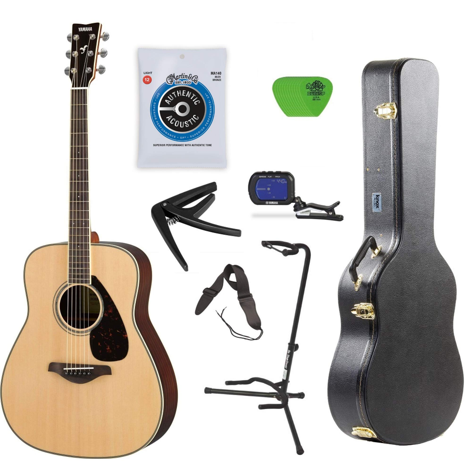 Yamaha FG800 Acoustic Guitar Solid Top with Knox Hard Shell Guitar Case,Tuner,Stand,strings,Stap,Capo and Picks