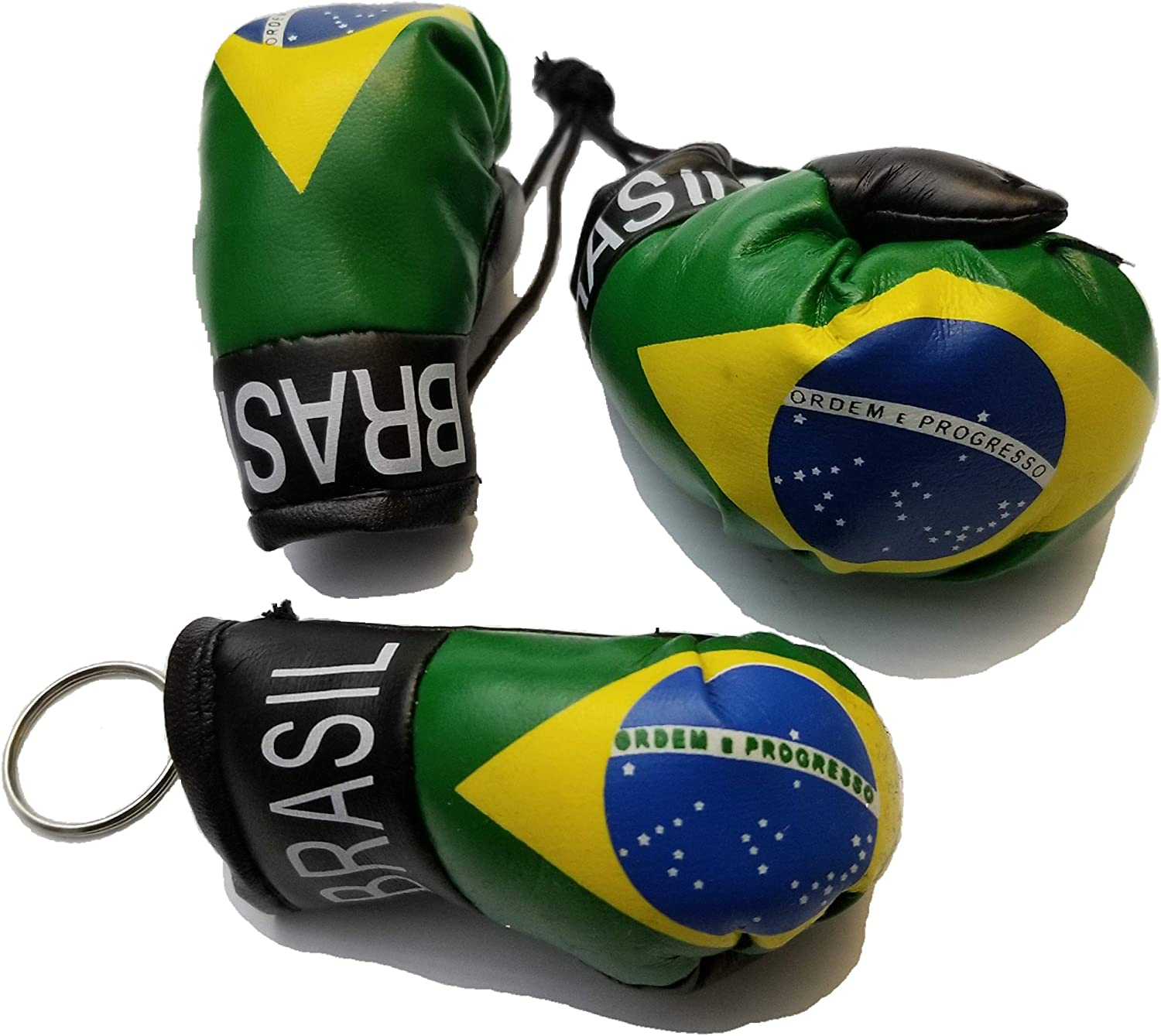 BRASIL COUNTRY FLAG MINI BOXING GLOVES . NEW