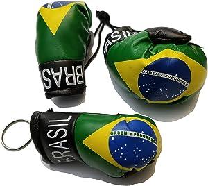 BUNFIREs 2 Pcs Brasil Flag Mini Banner Boxing Gloves Rear View Mirror & Brazilian Key Chain Country Flag Logo
