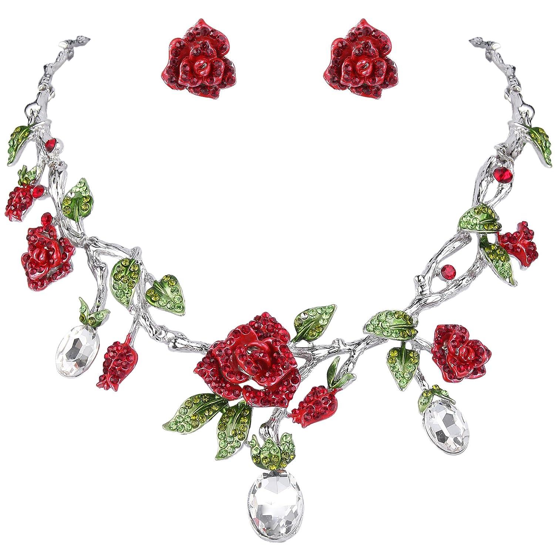 TENYE Cristal Strass Soirée Rouge Rose Fleur Vert Feuille Collier+Boucles d'Oreilles Parures Clair Ton d'argent 13001565-13