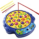 Haktoys Fishing Game Toy Set with Rotating Board | Now with Music On/Off Switch for Quiet Play | Includes 21 Fish and 4…