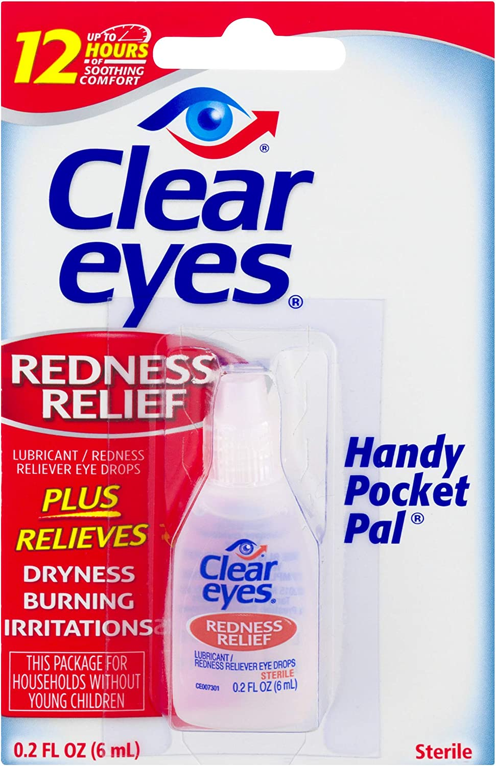 Clear Eyes Hand Pocket Pal Redness Relief Eye Drops | Relieves Drying, Burning & Irritations | 0.2 Ounce, Multi
