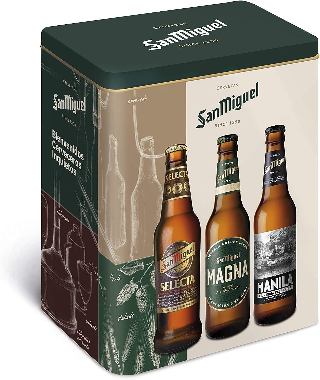San Miguel - Edición Especial - Caja de 6 botellas - 2 Magna, 2 Manila y 2 Selecta: Amazon.es: Alimentación y bebidas