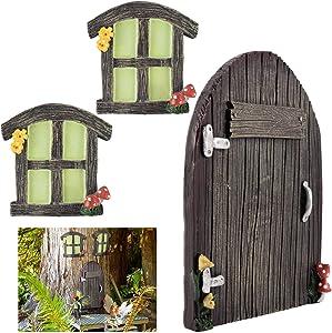 3pcs Miniature Fairy Home Windows and Door- Glowing in The Dark Fairy Garden Door Windows Ornaments Fairies Sleeping Door and Windows Tree Statues Mystical Door for Tree Trunk Yard Garden Decoration
