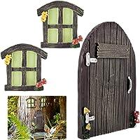 3pcs Miniature Fairy Home Windows and Door- Glowing in The Dark Fairy Garden Door Windows Ornaments Fairies Sleeping…