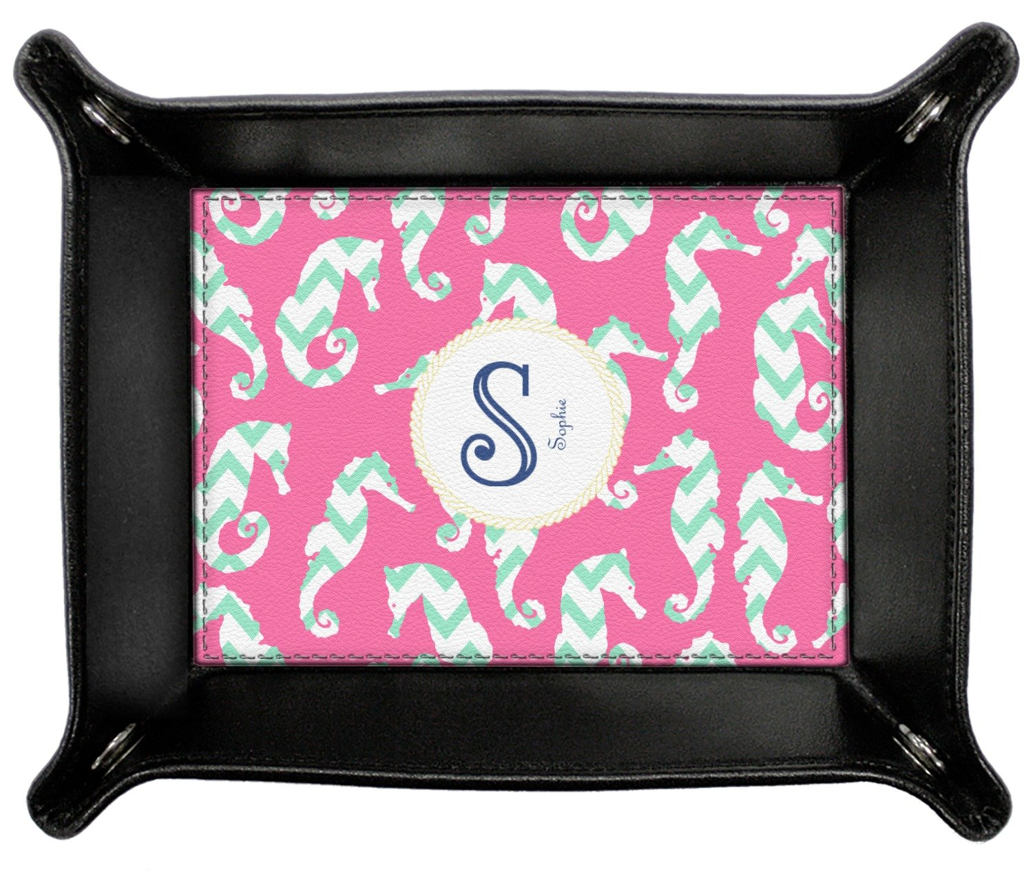 Sea Horses Genuine Leather Valet Tray (Personalized)
