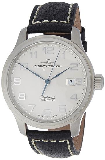 Zeno Watch Basel Pilot New Classic 9554-e2 - Reloj de caballero automático, correa de piel color negro: Amazon.es: Relojes