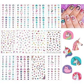 Amazon.com: 12 hojas de unicornio 3D pegatinas de uñas ...