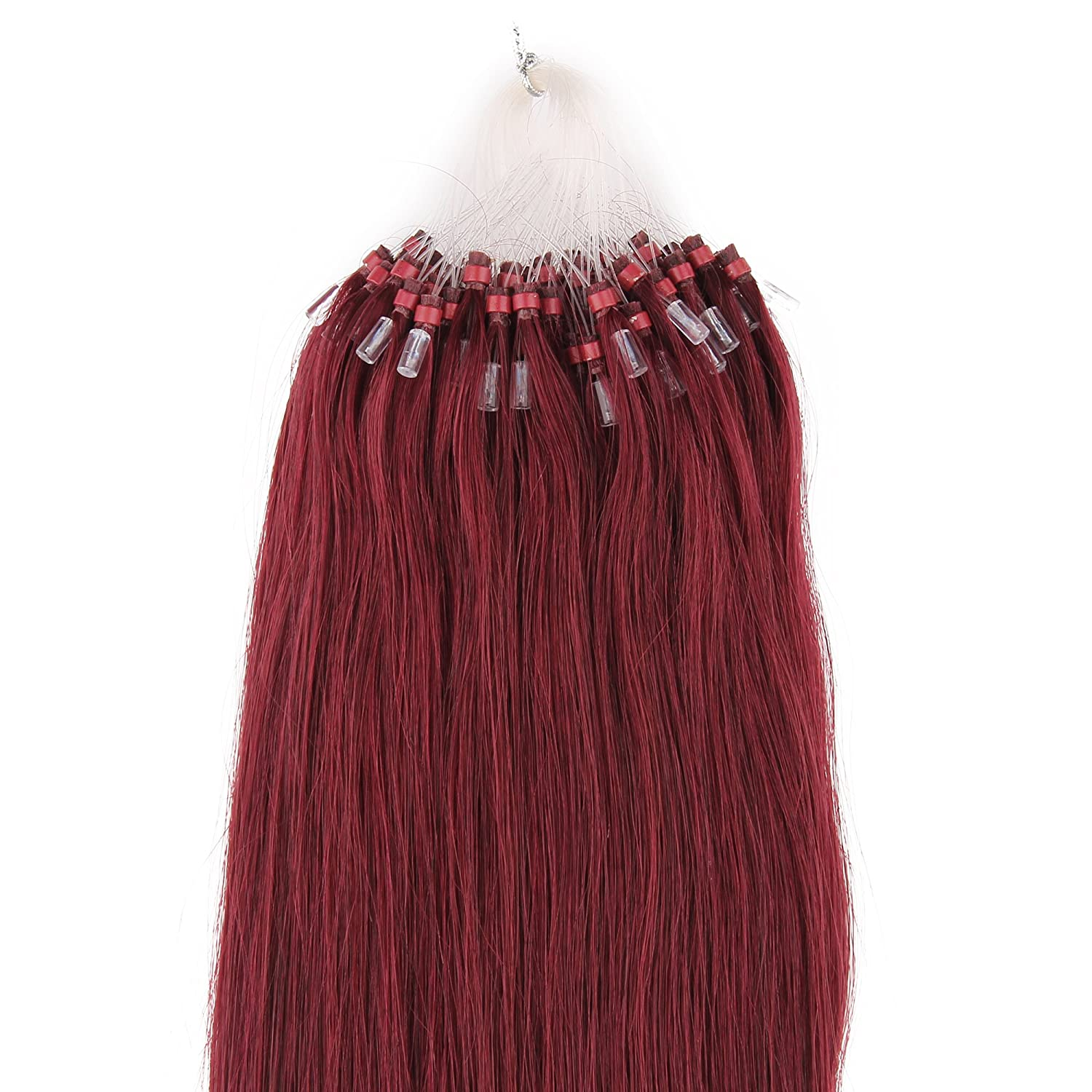 Beauty7 Wine Red Long Straight Microring Hair Extensions Easy Loops