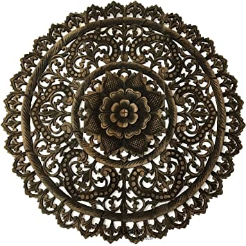 Round carved wood wall decor