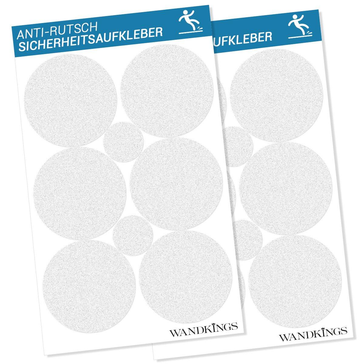 Adesivi anti-scivolo - 12 punti di adesione da 10 cm Ø e 4 punti da 5 cm Ø per la sicurezza nella vasca da bagno e nella doccia Wandkings.de