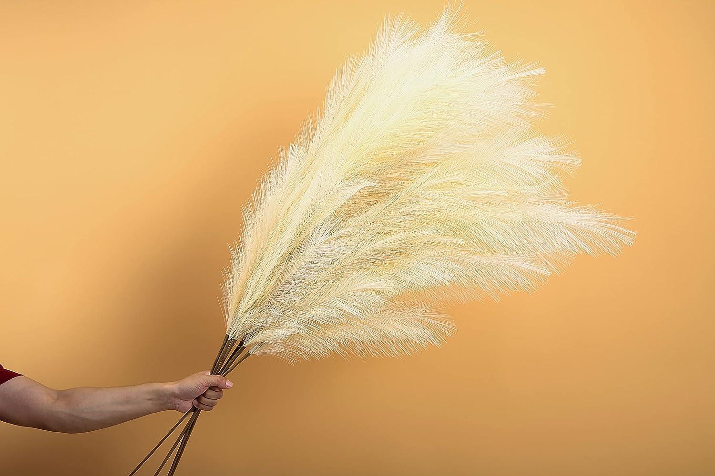 48 Inch Large Faux Pampas Grass - Tall & Fluffy, Cream Beige Color Fake Artificial Pampas Grass Decor, Bundle of 3 - Beautiful Bohemian Living Room, Kitchen, Boho Wedding Decor, Vase Filler