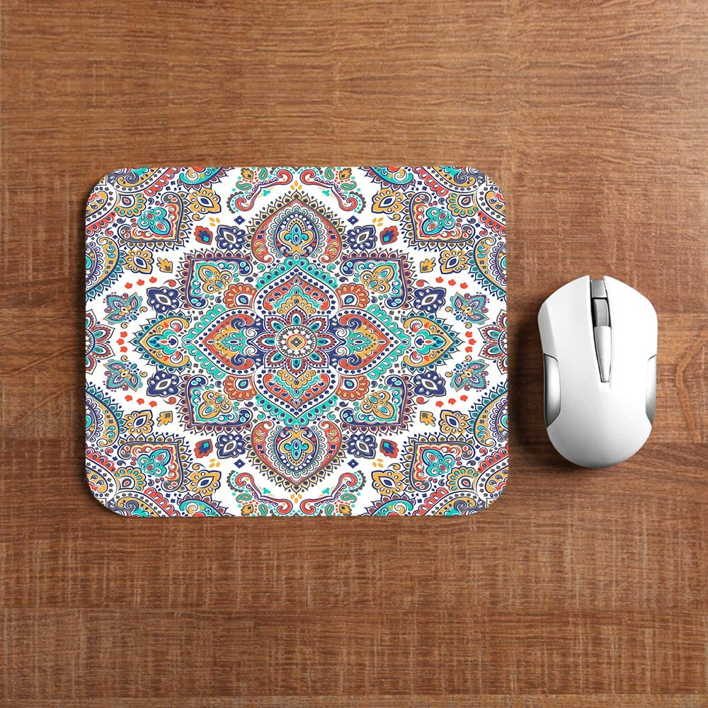Non-Slip Rectangle Mousepad Paisley,Vintage Plant Pattern Batik 7.9x9.5 inch for Kids