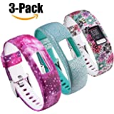 for Garmin Vivofit 4 Bands Printing Patterns Style Replacement Soft Silicone Adjustable Straps Wristband Accessories for Garmin Vivofit4 Tracker Band Large & Small [3 Pack] (Small, Multicolor-D)