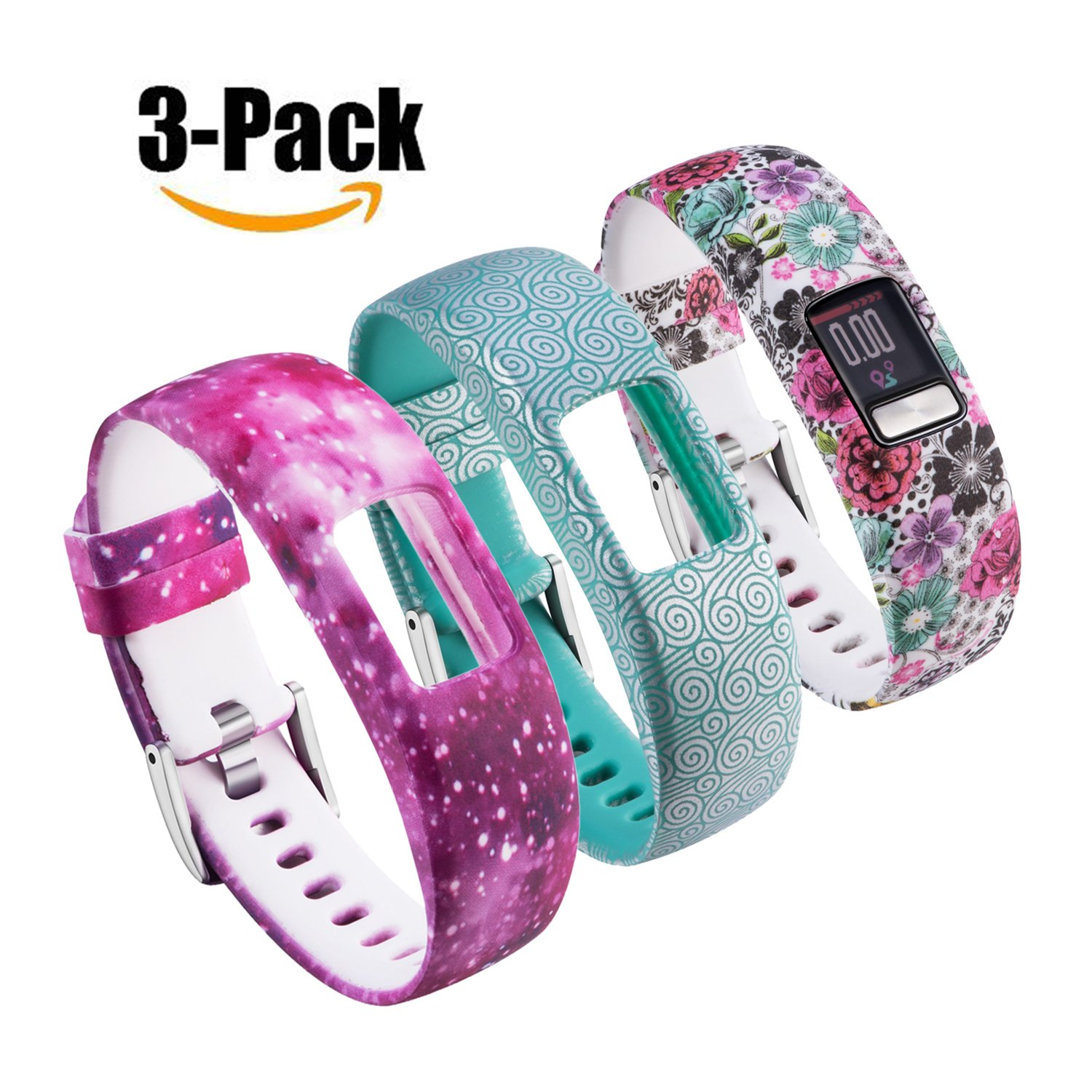 For Garmin Vivofit 4 Bands Printing Patterns Style Replacement Soft Silicone Adjustable Straps Wristband Accessories for Garmin Vivofit4 Tracker Band Large & Small [3 Pack] (Large, Multicolor-D)