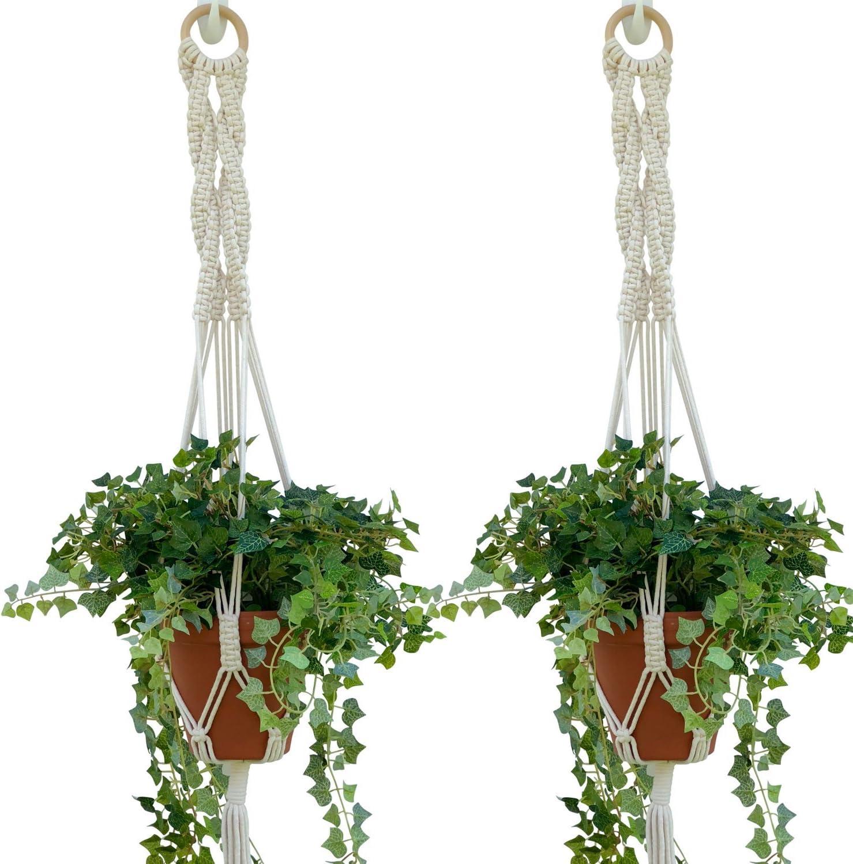 Macrame Plant Hangers Set of 2, Best Hanging Planter, Hanging Indoor Plants, Boho Flower Pots Braided Basket Liner, Natural Cotton Cord 40