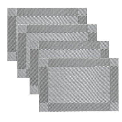 Mantelitos Individuales Famibay PVC Salvamanteles Individuales para Mesa  Comedor juego de 4 Lavables resistente al calor