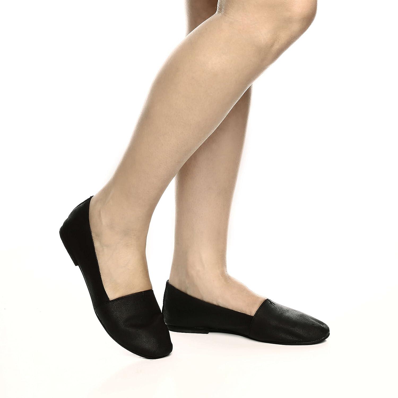 B-Unique Ballet Flats for Women Italian Leather Flat Women's Shoes Slip On Loafer Comfort Round Toe B07BLYYJN9 5.5 B(M) US Black