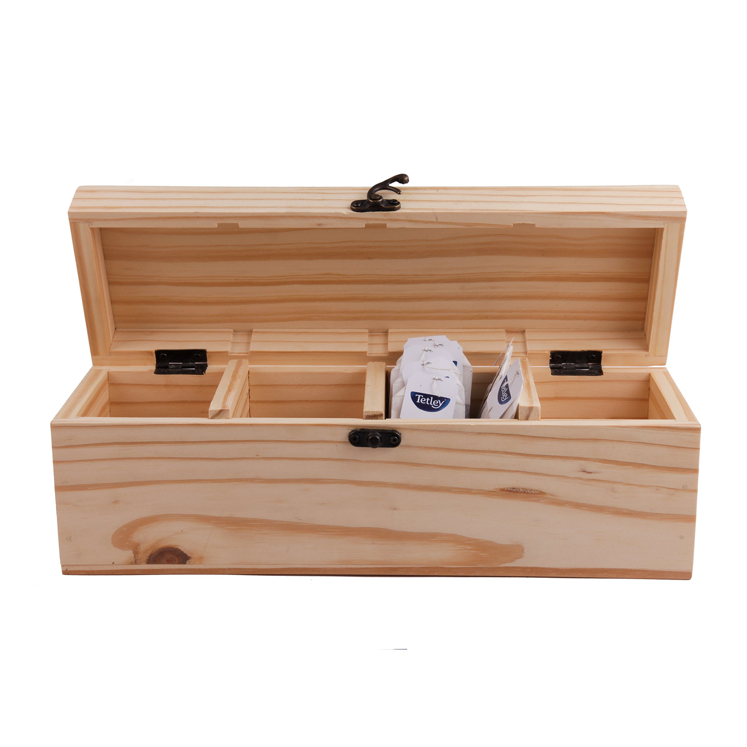 GoCraft Wooden Tea Bag / Spice Storage Box | Pine Wood Tea Chest with 4 Storage Compartments
