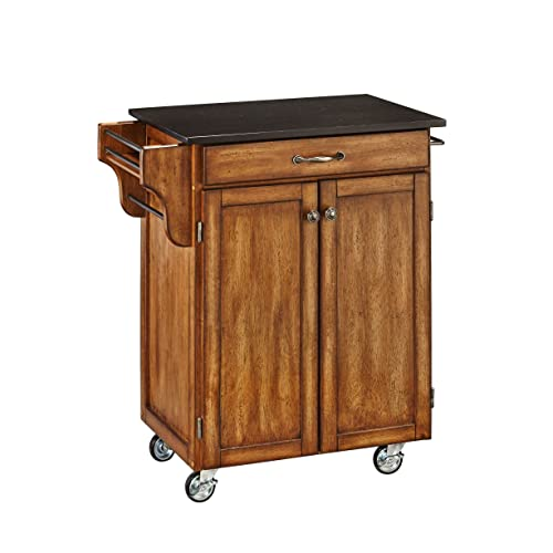 Home Styles Create-a-Cart Warm Oak Two-door Cabinet Kitchen Cart with Black Granite Top, Two Wood Panel Doors, One Drawer, Two Towel Bars, Spice Rack, and Adjustable Shelf