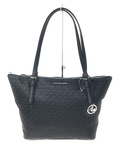 b3dd525d35a7 Image Unavailable. Image not available for. Color: Michael Kors Ciara Large  Ew Top Zip Black Coated Canvas Tote