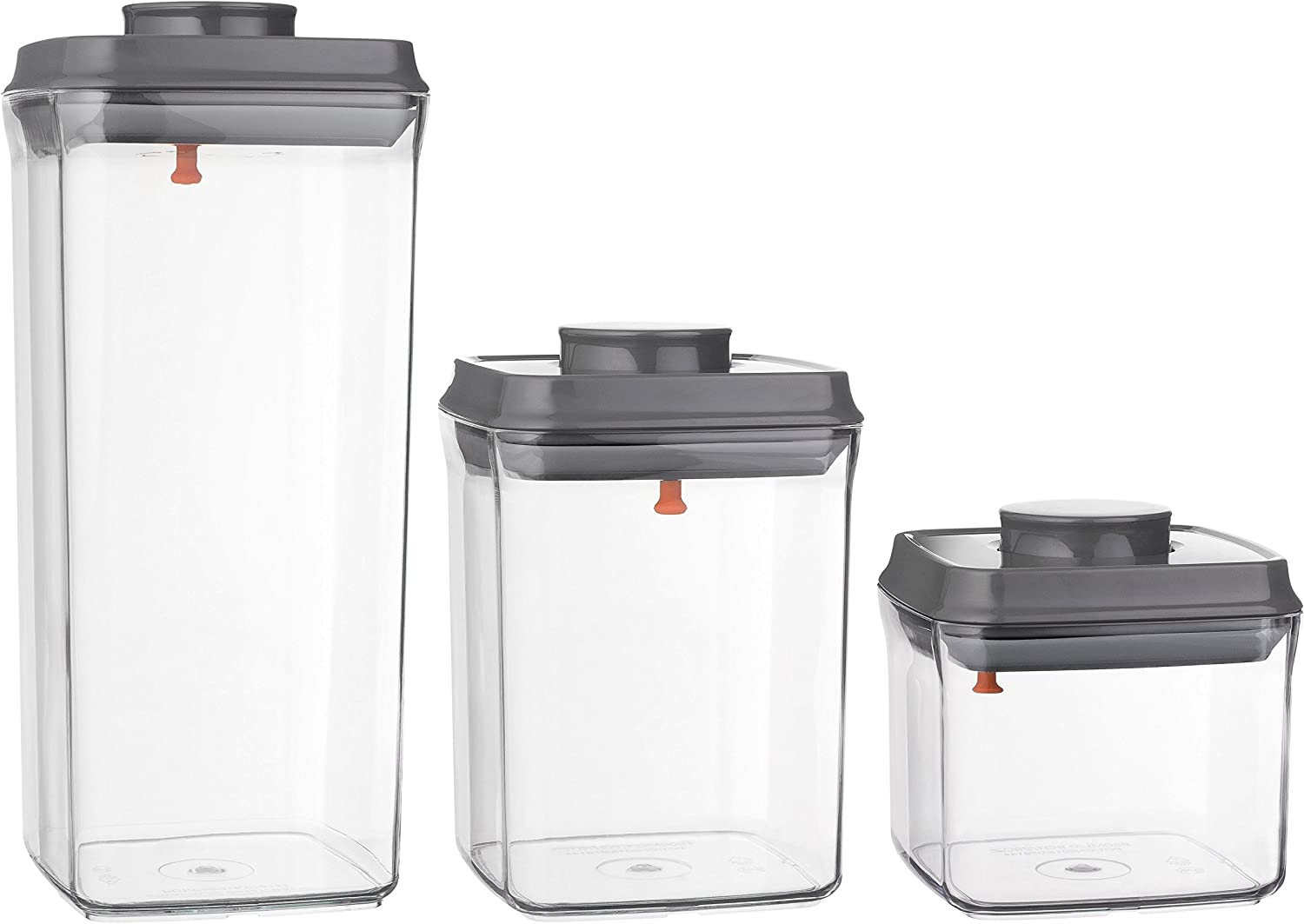 Ankou 3 Piece Munchenmills Pop Top Food Storage Container with Airtight Rubber Seal and Push Button Locking Cover, Unique Lid Hook