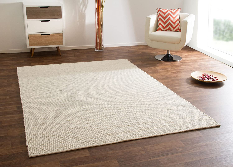 Teppich skandinavischer Stil 100% Schurwolle für Wohnzimmer und Möbel im Scandi Style, Creme, Größe 250x290 cm