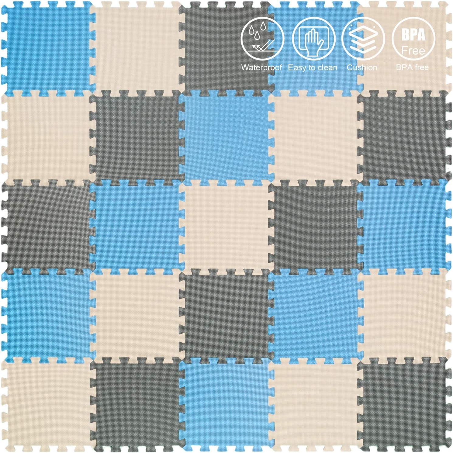 Fitnessmatte Grau Yostrong Schutzmatten Set Puzzlematte Boden Schutz Matte Blau spielmatte Baby YC-GJLb25N 25 Puzzle Bodenschutzmatten Unterlegmatte Beige