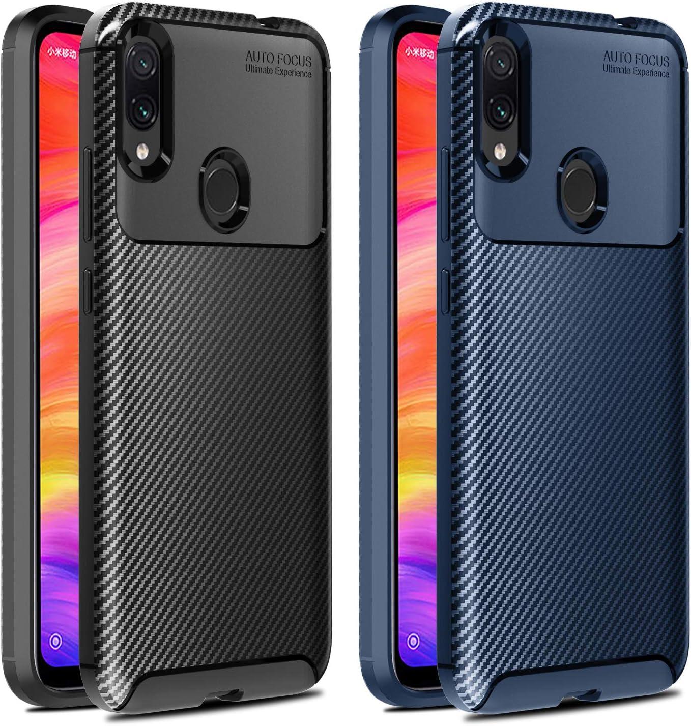 VGUARD [2 Unidades] Funda para Xiaomi Redmi Note 7 / Redmi Note 7 Pro, [Fibra de Carbono] Carcasa Ligera Silicona Suave TPU Gel Bumper Caso Case Cover con Shock- Absorción (Negro+Azul)