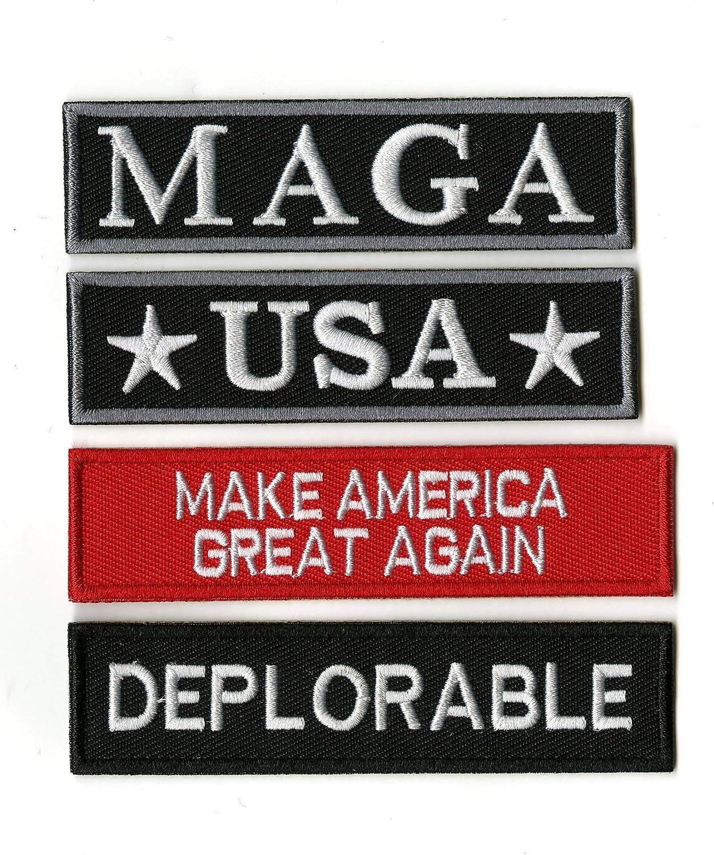"⫸ TRUMP MAGA 4/"" Bright Red Make America Great Again Iron-on Patch NRA Pro-Gun Q"