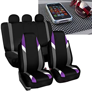 FH Group FB133115 Full Set Premium Modernistic Seat Covers Purple/Black with FH1002 Non-Slip Dash Pad- Fit Most Car, Truck, SUV, or Van