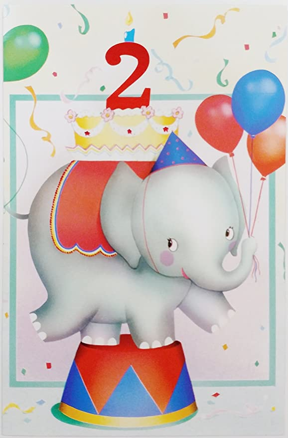 Ref 2J - 1//3 2nd Birthday Card Puppy /& Elephant Design - You/'re 2 Today