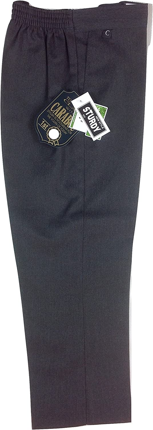 Boys STURDY WIDE Fit Generous Superior Quality Half Elastic Waist Teflon School Formal Trousers 7-14 years Schoolwear Kids Black Grey Charcoal Navy for comfort ease