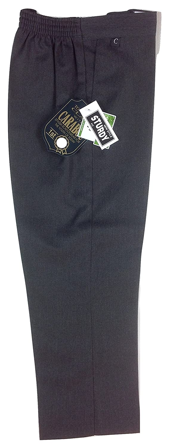 Boys Superior Quality Carabou School Formal Trousers Sturdy Fit Wide Fit Kids Sizes Age 8 9 10 11 12 13 14 Black Charcoal Grey Teflon