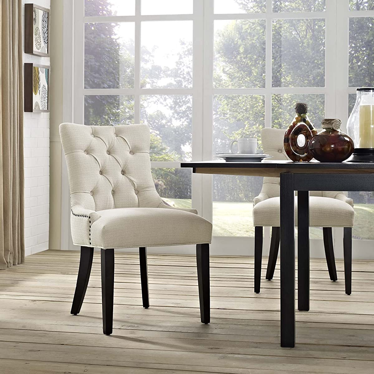 Modway Regent Modern Elegant Button-Tufted Upholstered Fabric Dining Side Chair with Nailhead Trim in Beige