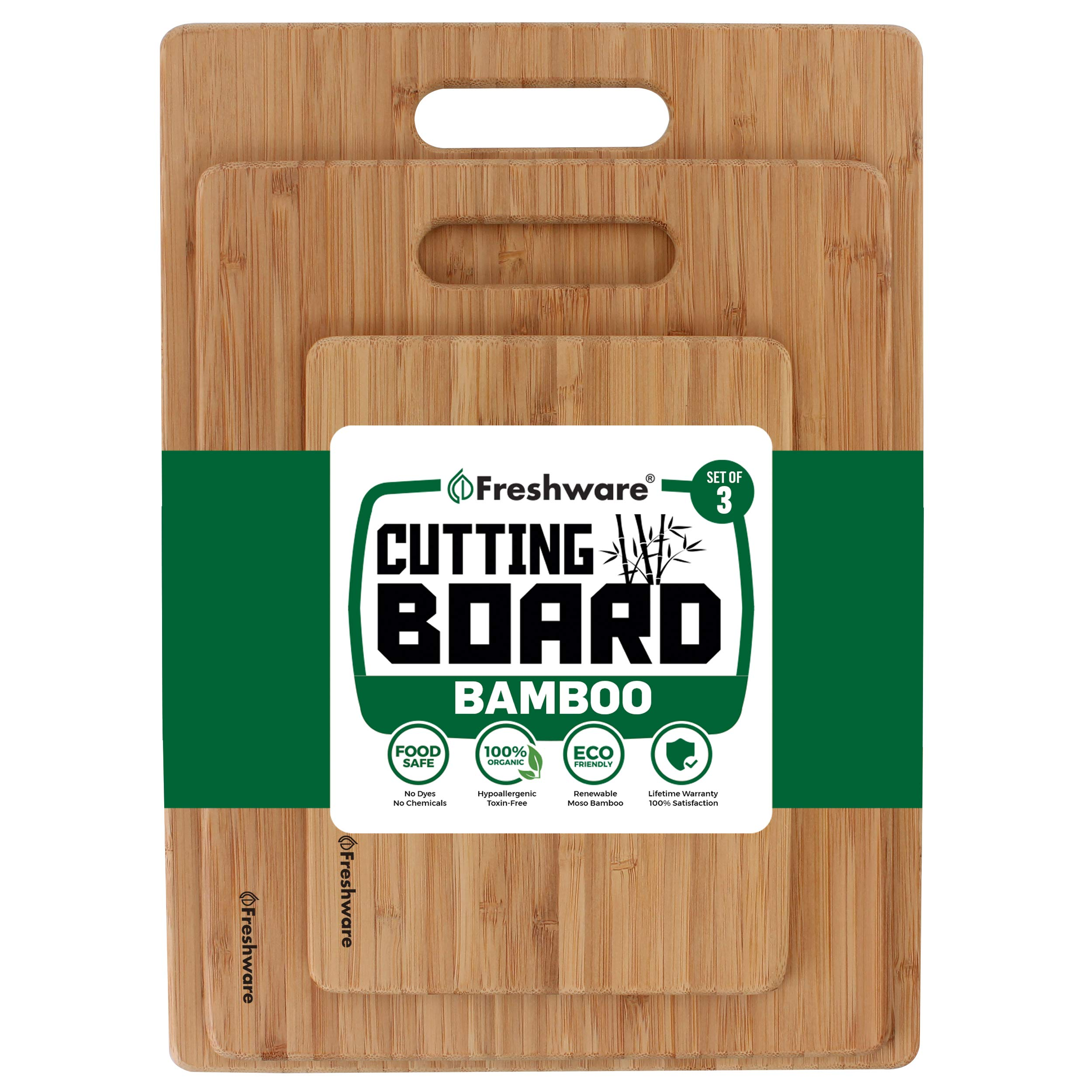 Freshware Bamboo Cutting Board - Wood Chopping Boards for Food Prep, Meat, Vegetables, Fruits, Crackers & Cheese, Set of 3 by Freshware