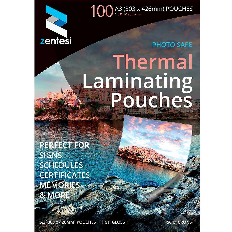 Fogli di carta laminata ultra lucida per plastificatrici, formato A3, 150 micron (75 + 75 micron) A3 Size: 303 x 426mm Transparent High Gloss Zentesi