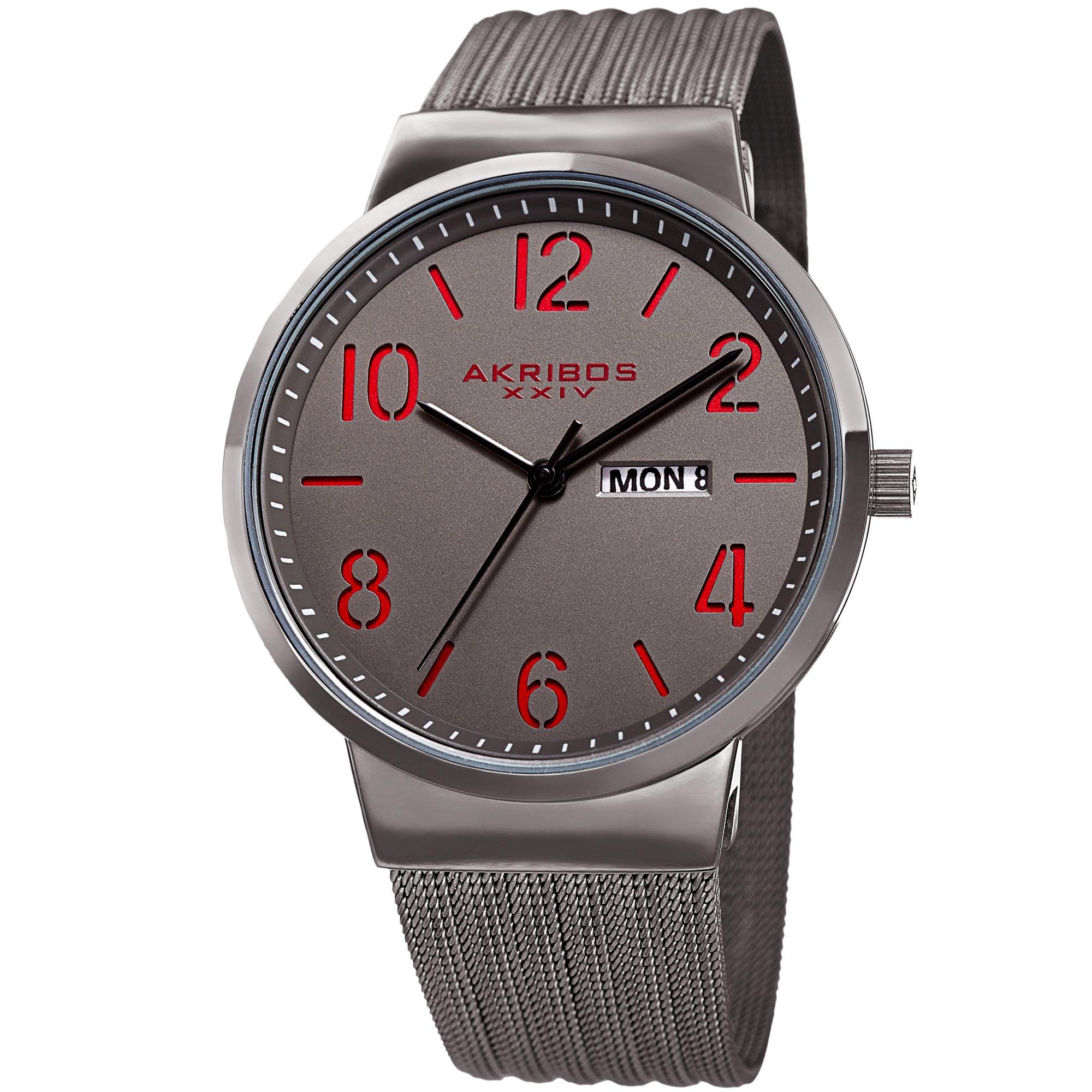Akribos XXIV Gunmetal Designer Men's Watch – Slim Stainless Steel Fine Mesh Fashion Bracelet Wristwatch – Quartz Movement, Day and Date – AK996GN