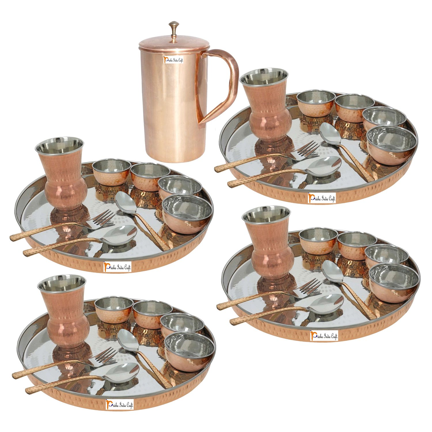 Prisha India Craft ® Set of 4 Dinnerware Traditional Stainless Steel Copper Dinner Set of Thali Plate, Bowls, Glass and Spoons, Dia 13'' With 1 Pure Copper Classic Pitcher Jug - Christmas Gift